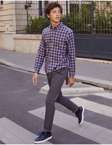 Chemise Gaston Contemporaine en twill à carreaux marines