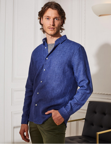 Chemise Gaston Contemporaine en lin bleu