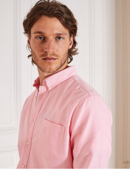 Chemise Gaston Contemporaine en oxford rose