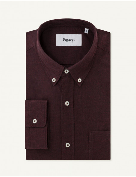 Chemise Contemporaine en oxford bordeaux