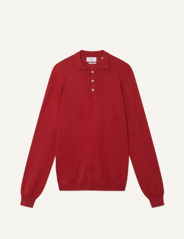 Pull Thibaud col polo rouge